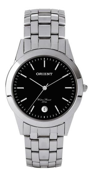 Relógio Masculino Prata Orient Fundo Preto Com Data + Nf
