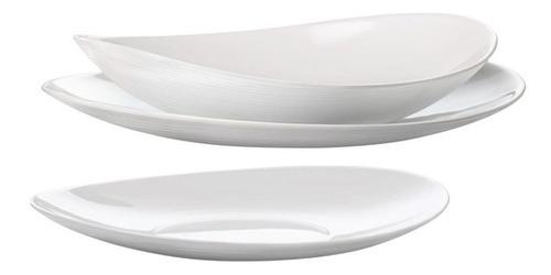 Set X  18 Platos Vidrio Templados Opal Opalinos Ovalados