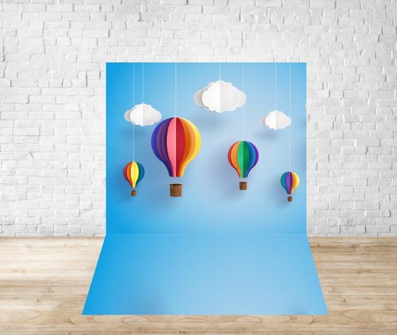Fundo Fotográfico Em Tecido Newborn Balões Paper E Craft 03