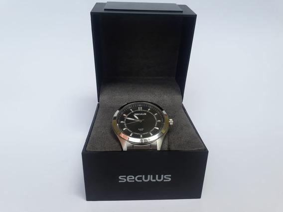 Relógio Seculus Usado Original Preto Long Life Seminovo