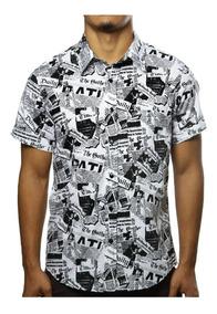 Camisa Masculina Estampada Casual Jornal Vintage