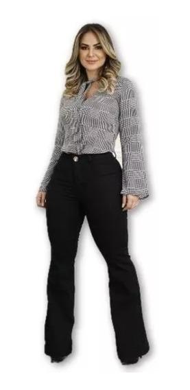 Kit 2 Calças Femininas Jeans Flare Cintura Alta Luxo Barata