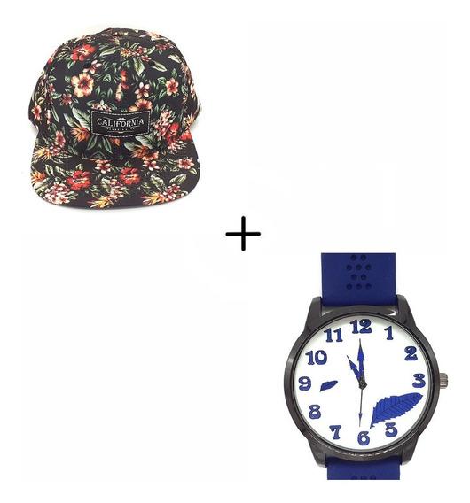 Combo Boné Aba Reta Florido + Relógio Masculino A/b