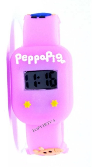 Relógio Peppa Pig Rosa Quadrado Digital Infantil P. D