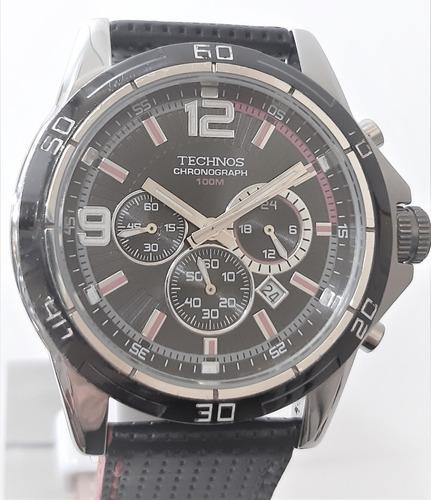 Relógio Usado Technos Cronograph Os20da Aço E Couro
