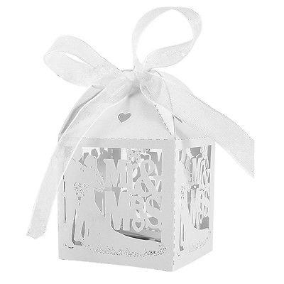 Caja de Favor Boda casado Favor Regalo Caramelo Fiesta Caja cintas de papel 10//50//100 un