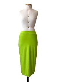 Saia Longa Verde Neon Reta Lápís Moda Evangélica