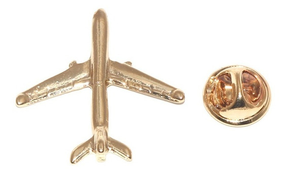 Pin Botton Broche Avião Aeromoça Folheado A Ouro.
