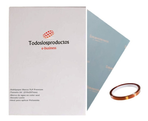 Imagen 1 de 8 de Cinta Térmica +100 Hojas De Sublimacion A4 Premium