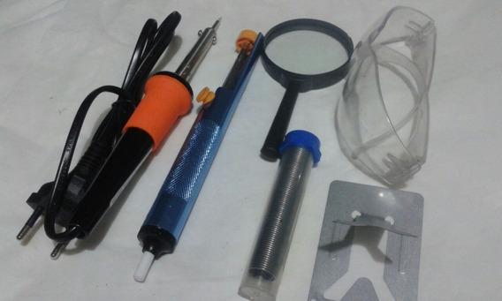 Kit Ferramentas Eletrônica Ferro Solda Sugador Estanho 6 Pçs