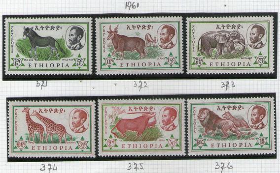 Etiopía 6 Sellos Mint Fauna: Elefante, León, Asno Año 1961