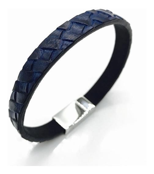 Pulsera Piel Y Acero Hombre Color Azul Trenza Sbt056