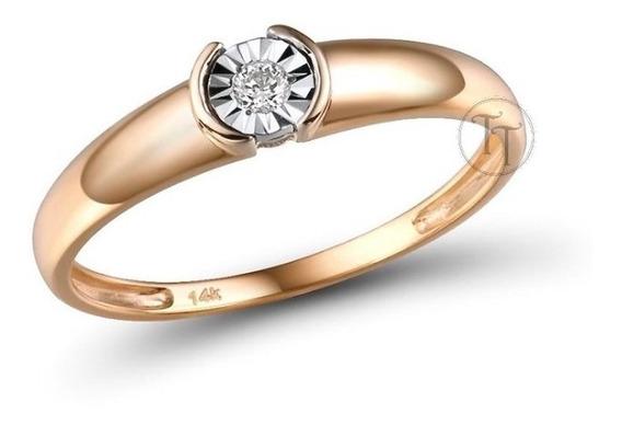 Anillo Oro Rosa 14k Diamante 0.032 Cts Ilusión