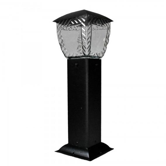 Luminária Jardim Poste Balizador Vidro Quadrado 50cm Pt / Br