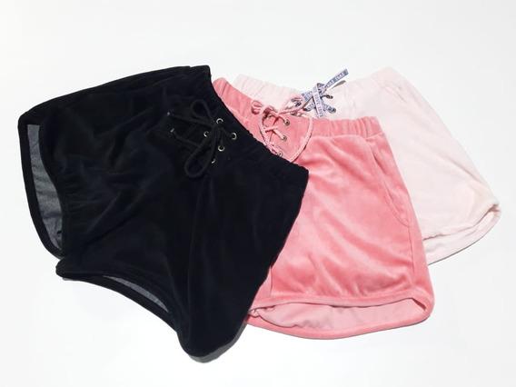 Kit 2 Shorts Feminino Plush Ilhós Cardaço Bolso Love Verão