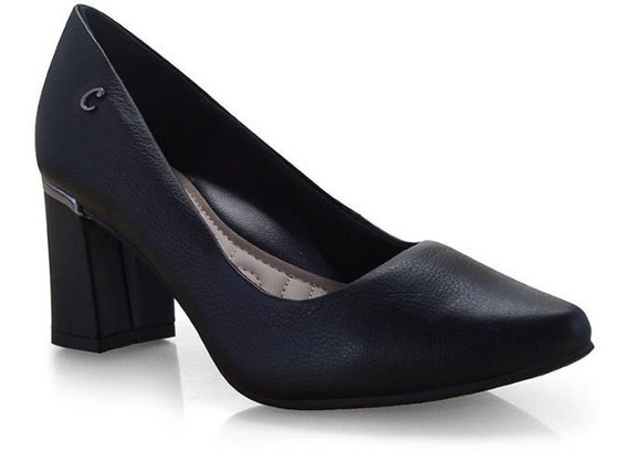Sapato Feminino Salto Bloco Campesí L6791 Preto E Caramelo