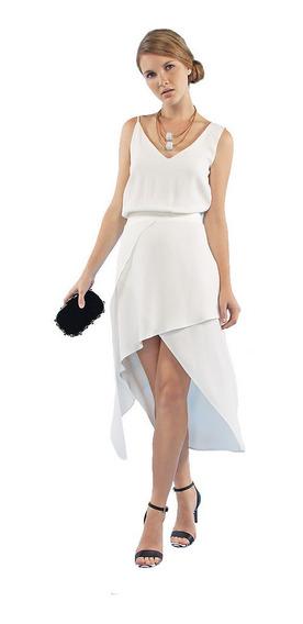 Vestido De Alcinha Curto Branco Assimetrico Casamento Festa