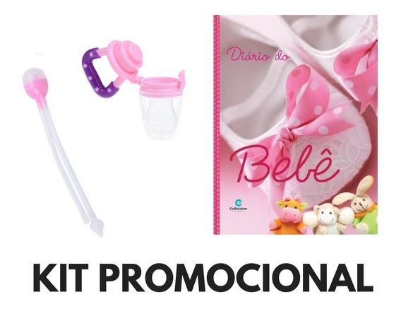 Kit Promocional Sugador Nasal+diário Bebê+ Chupeta Menina