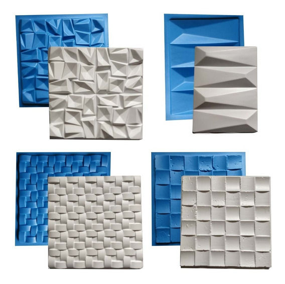 4 Formas Borracha E Plástico Placa Gesso 3d Envio Imediato
