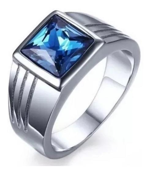 Anel Masculino Aço Titânio Safira Zirconia Azul