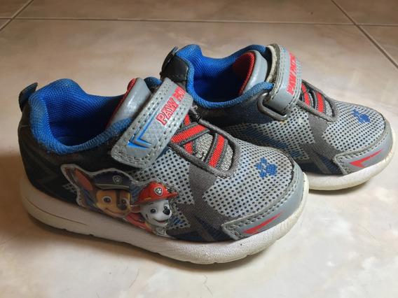 Zapatos De Niño Con Luces Paw Patrol Talla 7 Us -usados-
