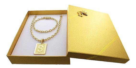 Corrente Banhada A Ouro 18k + Pulseira+letra+box Presente 45