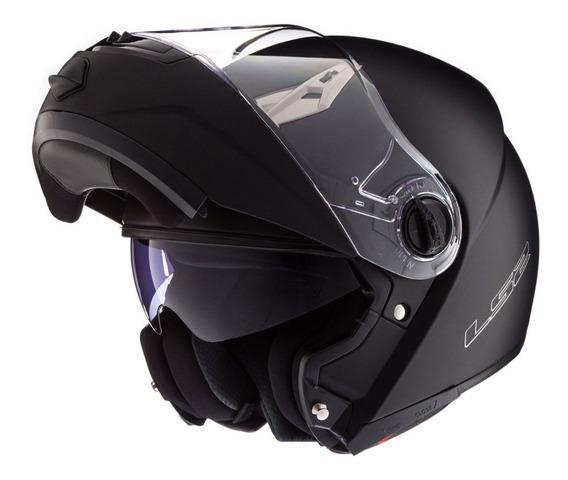 Casco Moto Rebatible Ls2 370 Easy Negro Brillo Doble Visor
