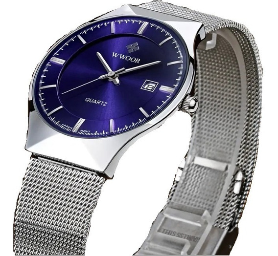 Relógio Fino Slim De Luxo Masculino Wwoor Lançamento 2020/21