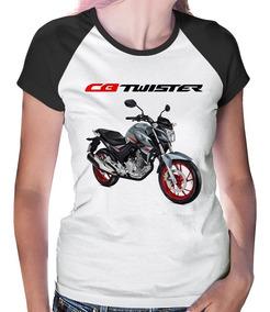 Baby Look Raglan Moto Honda Cb 250 F Twister Prata