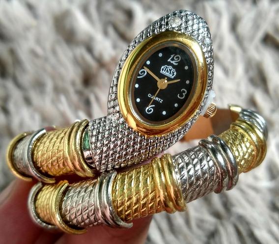 Relógio Cobra Dourado Com Prata