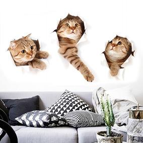 3d Gato Parede Adesivo Animal Casa Pet Loja Parede