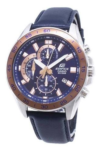 Reloj Casio Edifice Efv-550l Crono Cuero 100% Original
