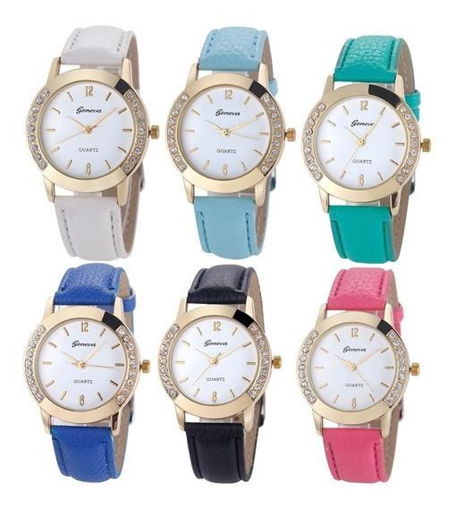 Kit 10 Relógios Feminino Geneva Platinum Strass Frete Grátis