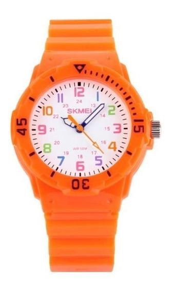 Relógio Para Criança Skmei 1043 Analógico Laranja Com Nf