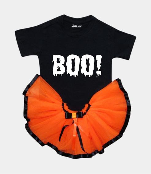 Roupa Para Bebê Halloween Menina Body Saia Tutu Abóbora