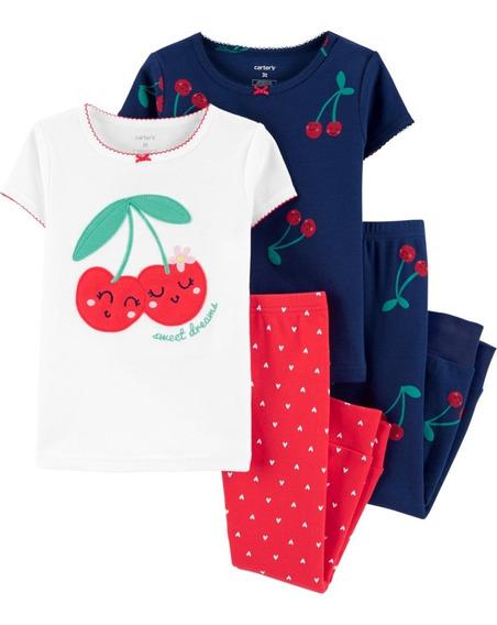 Set 4 Pzas, Pijama Cerezas, Bebé, Carters, 1h459010