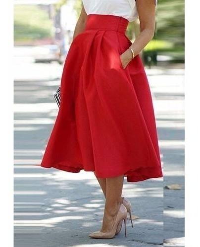 Falda Roja Plisada Vintage Mujer Casual Elegante Disponible