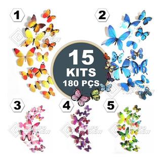15 Kits 180 Pcs Borboletas 3d Tridimensionais Decoração