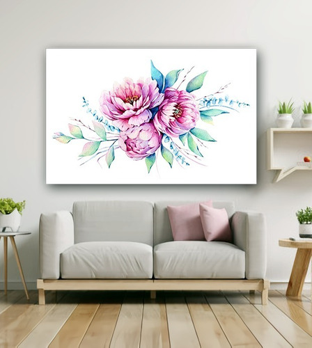 Cuadros Decorativos Tipo Acuarela Minimalistas Flores Peonia