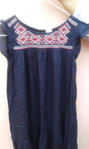 Vestido Oshkosh Nena Bordado Azul Largo 7 Años