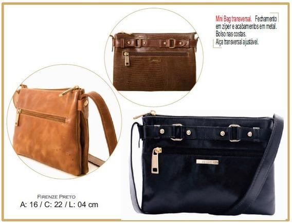 Bolsa Mini Bag Feminina Couro Legítimo Poucelle 5532