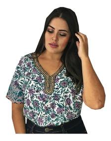 Blusa Camisa Feminina Estampada Social Botão Moda Evangelica