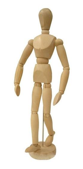Boneco Articulado Madeira 30cm - Desenho Motion Moda Arte