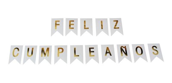 Banner Feliz Cumpleaños Negro Oro Letrero Happy Birthday