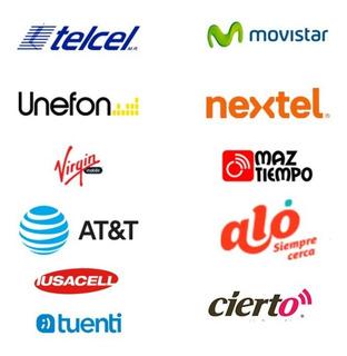 Recarga $100 Telcel Movistar At&t Unefon Weex Cierto Virgin