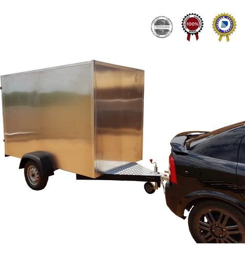Carreta Baú Aluminio Grande- Madeiramento Interno- 500 Kg