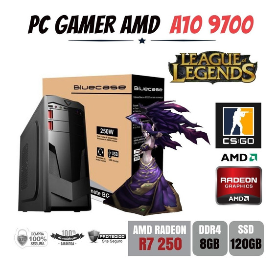Pc Gamer Amd A10 9700 8gb Ddr4 R7 250 Apu Ssd120gb