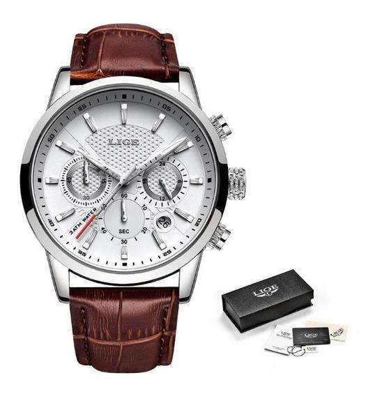 Relógio Luxo Lige 100% Funcional Pulseira De Couro Promoção