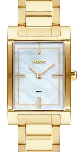 Relógio Orient Feminino Quadrado Dourado Lgss0056 B1kx