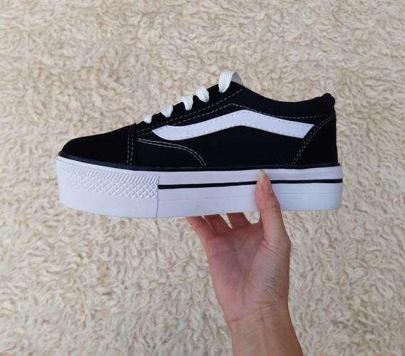 zapatillas plataforma mujer negras vans